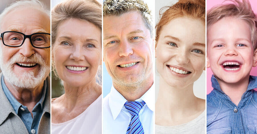 Combined image of smiling people in various age limits